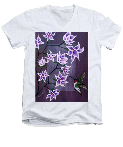 Hummingbird Delight Men's V-Neck T-Shirt by Teresa Wing