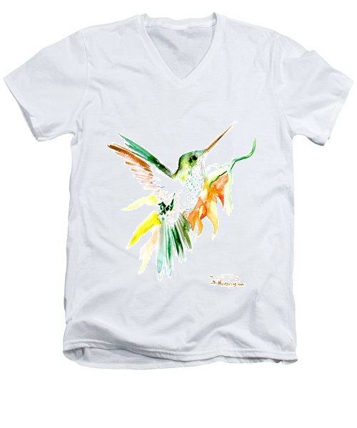 Hummingbird Green Orange Red Men's V-Neck T-Shirt