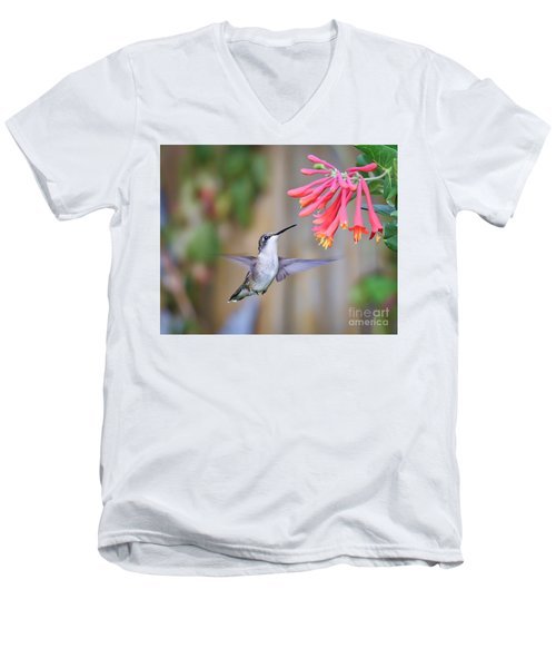 Hummingbird Happiness 2 Men's V-Neck T-Shirt by Kerri Farley