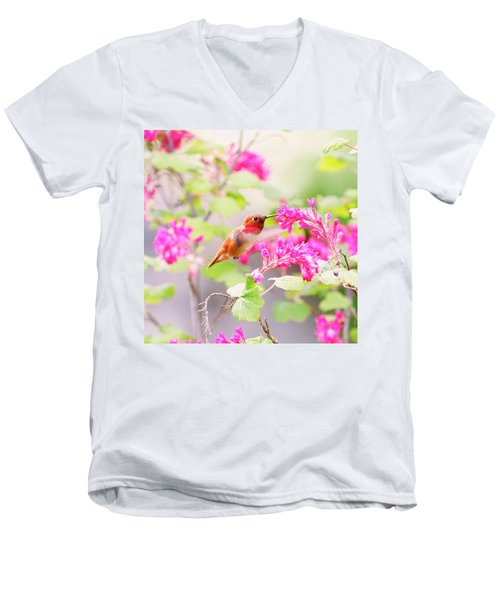 Hummingbird In Spring Men's V-Neck T-Shirt by Peggy Collins
