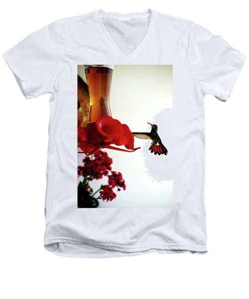 Hummingbird In Tulua, Colombia Men's V-Neck T-Shirt by Al Bourassa