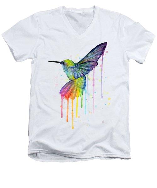 Hummingbird Of Watercolor Rainbow Men's V-Neck T-Shirt by Olga Shvartsur