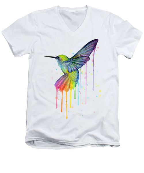 Hummingbird Of Watercolor Rainbow Men's V-Neck T-Shirt