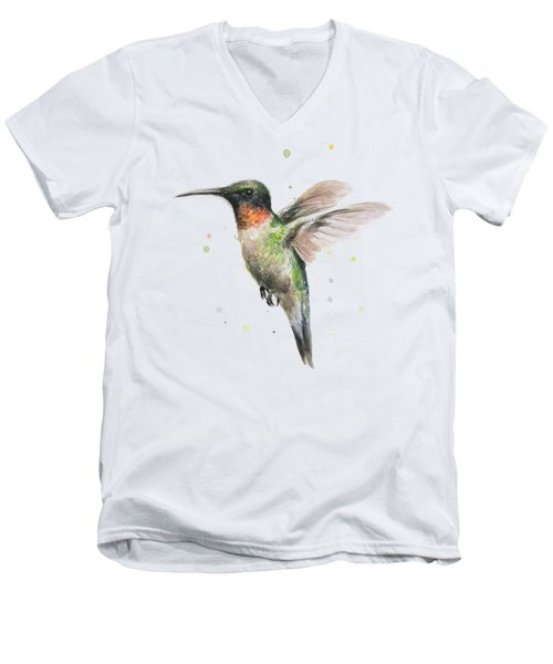 Hummingbird Men's V-Neck T-Shirt by Olga Shvartsur
