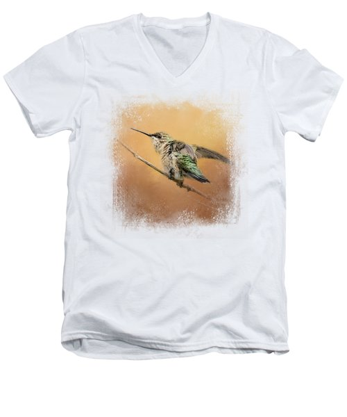 Hummingbird On Peach Men's V-Neck T-Shirt by Jai Johnson