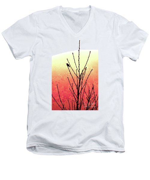 Hummingbird Peach Tree Men's V-Neck T-Shirt