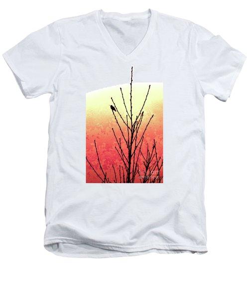 Hummingbird Peach Tree Men's V-Neck T-Shirt