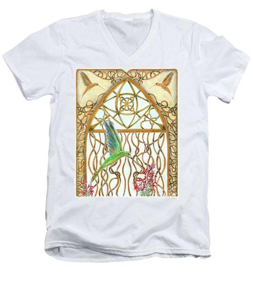 Hummingbird Sanctuary Men's V-Neck T-Shirt by Lise Winne