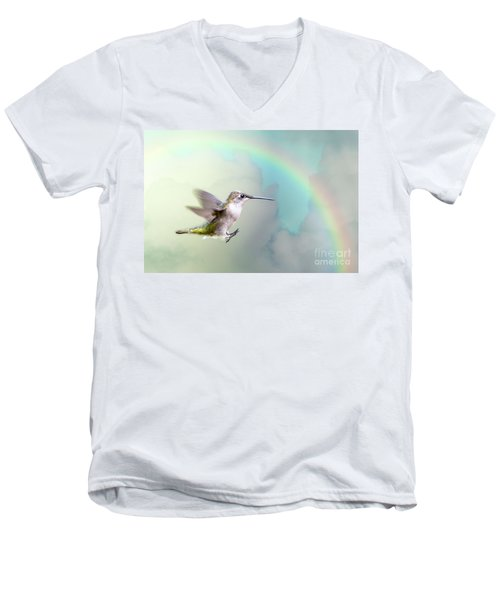 Men's V-Neck T-Shirt featuring the photograph Hummingbird Under Rainbow by Bonnie Barry
