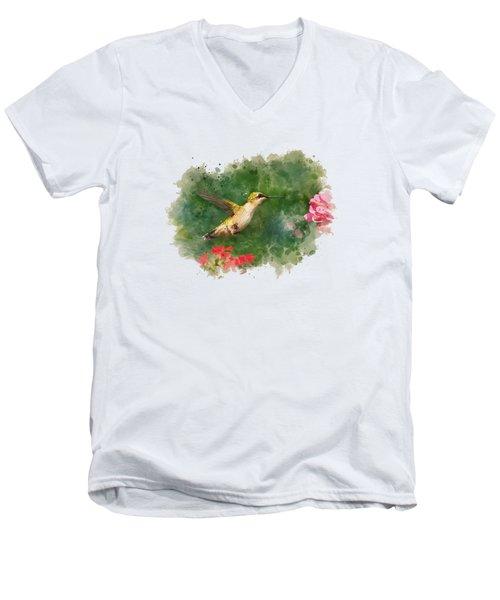 Hummingbird - Watercolor Art Men's V-Neck T-Shirt