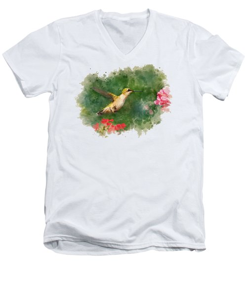 Hummingbird - Watercolor Art Men's V-Neck T-Shirt