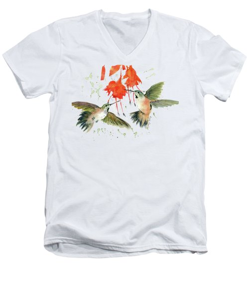 Hummingbird Watercolor Men's V-Neck T-Shirt by Melly Terpening