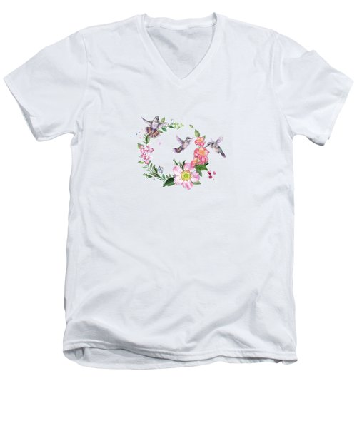 Hummingbird Wreath In Watercolor Men's V-Neck T-Shirt