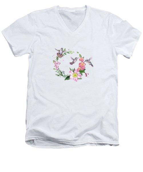 Hummingbird Wreath In Watercolor Men's V-Neck T-Shirt