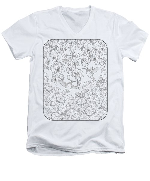Hummingbirds And Flowers Coloring Page Men's V-Neck T-Shirt