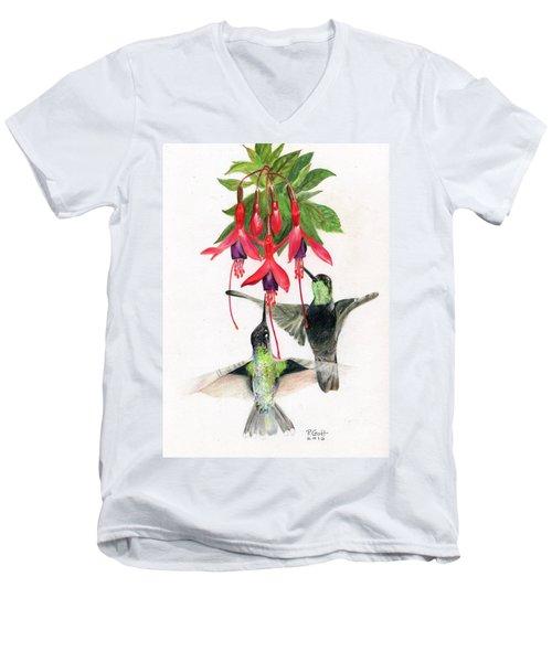 Hummingbirds And Fuchsia Men's V-Neck T-Shirt