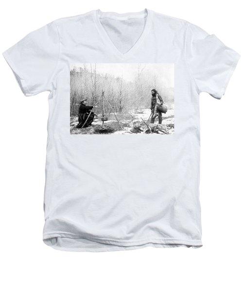 Hunting Camp Winter 1887-88 -- South Dakota Men's V-Neck T-Shirt
