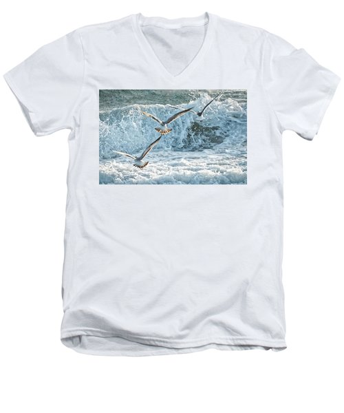 Men's V-Neck T-Shirt featuring the photograph Hunting The Waves by Don Durfee