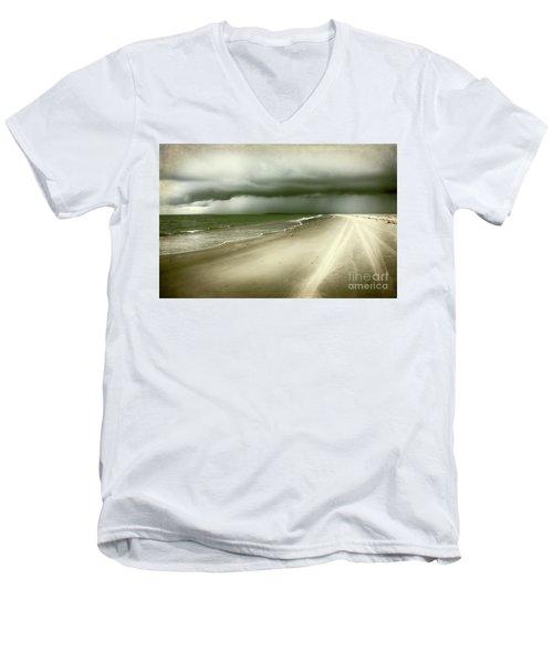 Hurricane Storm Ocracoke Island Outer Banks Men's V-Neck T-Shirt by Dan Carmichael