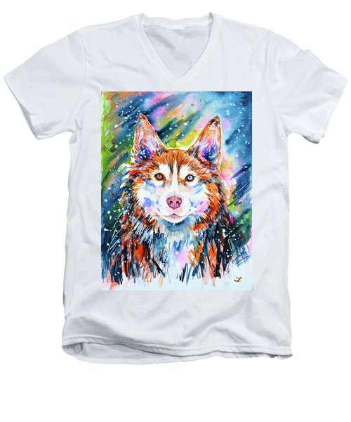 Men's V-Neck T-Shirt featuring the painting Husky by Zaira Dzhaubaeva