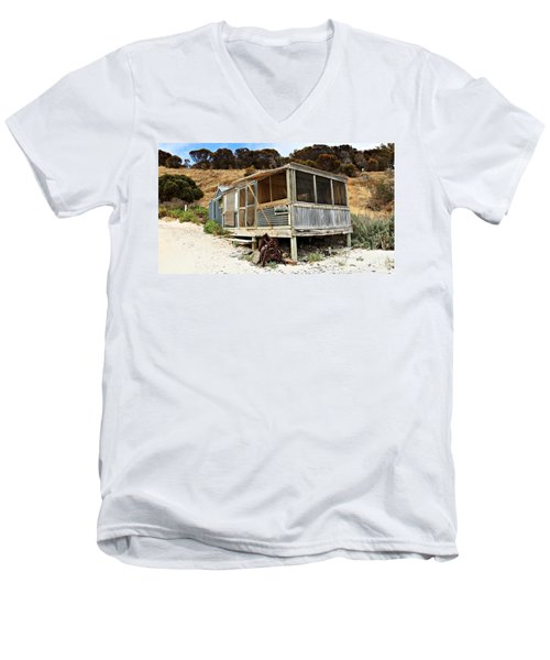Men's V-Neck T-Shirt featuring the photograph Hut At Western River Cove by Stephen Mitchell