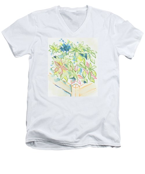 Hydrangea Plant Growing Out Of A Square Wooden Planter Men's V-Neck T-Shirt