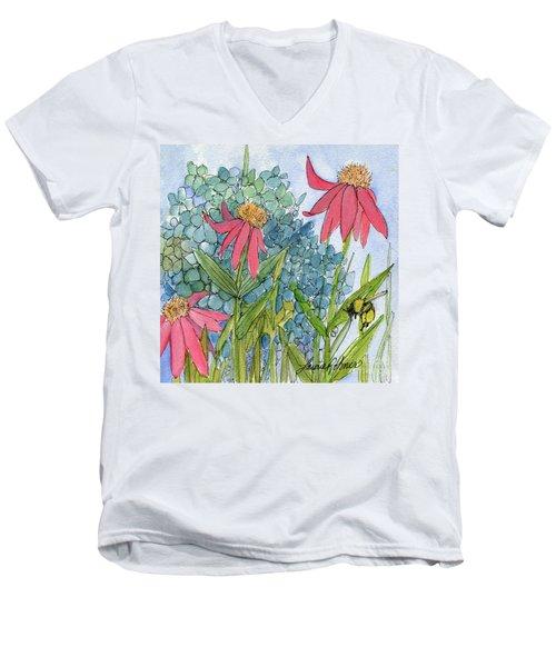 Hydrangea With Bee Men's V-Neck T-Shirt