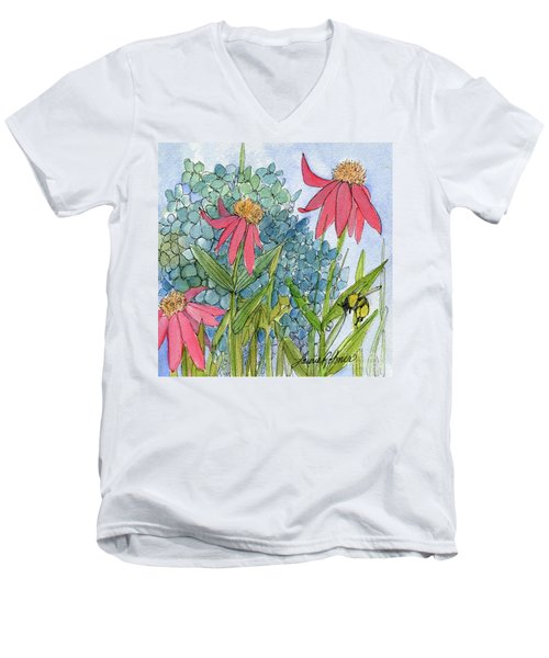 Hydrangea With Bee Men's V-Neck T-Shirt