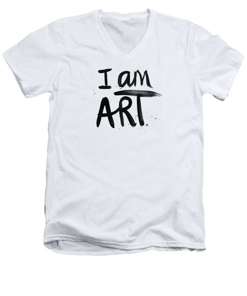 Men's V-Neck T-Shirt featuring the mixed media I Am Art Black Ink - Art By Linda Woods by Linda Woods