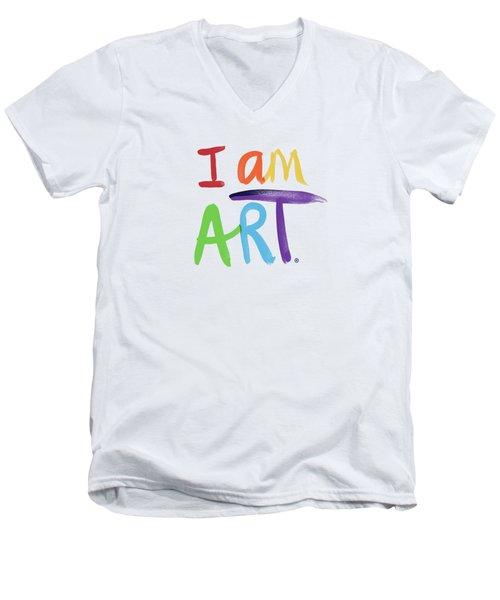I Am Art Rainbow Script- Art By Linda Woods Men's V-Neck T-Shirt