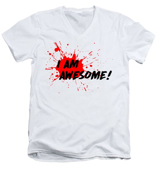 I Am Awesome - Light Background Version Men's V-Neck T-Shirt by Menega Sabidussi