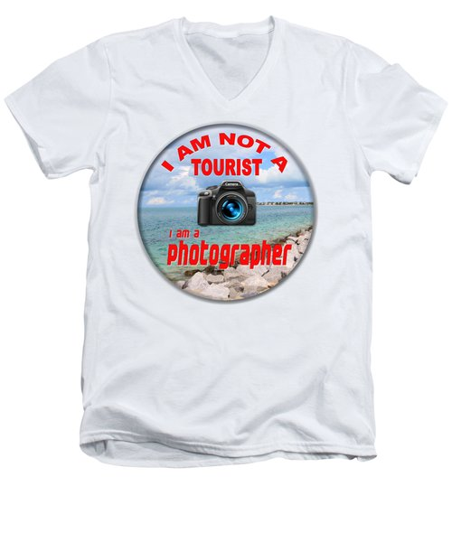 I Am Not A Tourist Men's V-Neck T-Shirt by Bob Slitzan