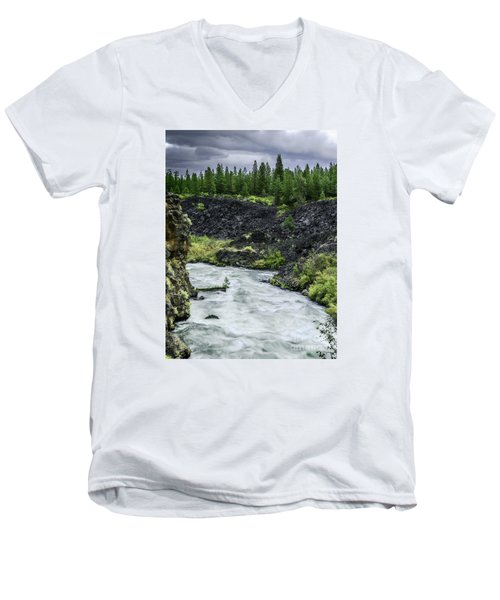 Men's V-Neck T-Shirt featuring the photograph I Am River Hear Me Roar by Nancy Marie Ricketts