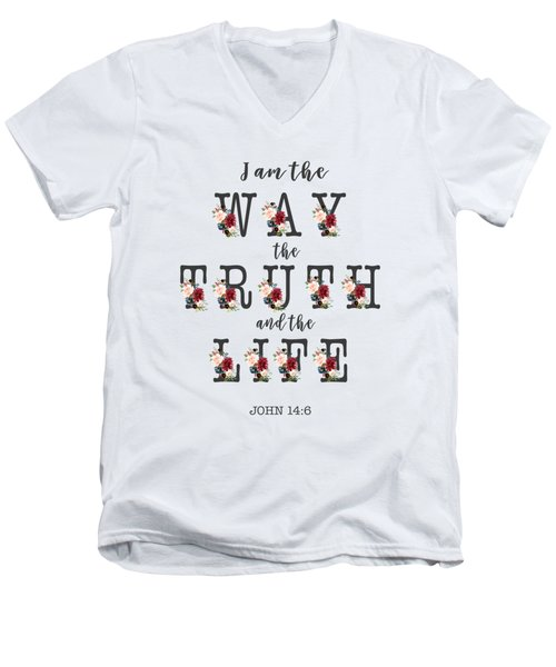 Men's V-Neck T-Shirt featuring the painting I Am The Way The Truth And The Life Typography by Georgeta Blanaru