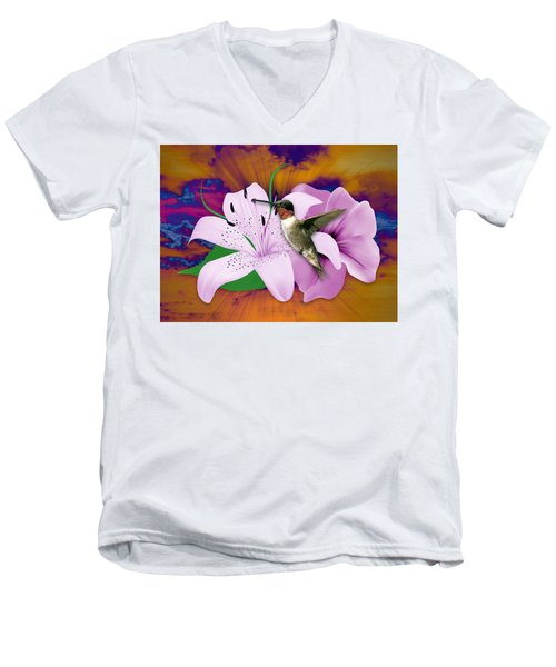 Men's V-Neck T-Shirt featuring the mixed media I Believe I Can Fly by Marvin Blaine