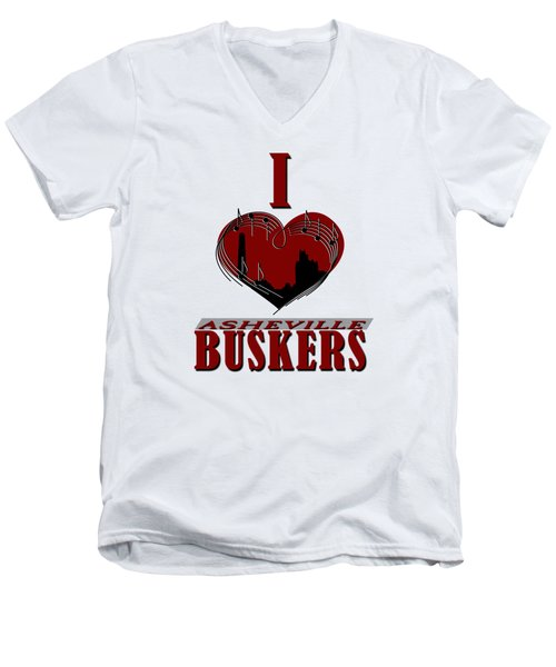 I Heart Asheville Buskers Men's V-Neck T-Shirt by John Haldane