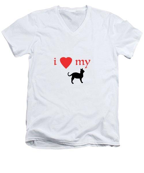 I Heart My Cat Men's V-Neck T-Shirt