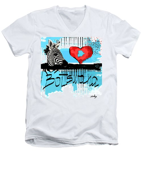 I Love Botswana  Men's V-Neck T-Shirt by Sladjana Lazarevic