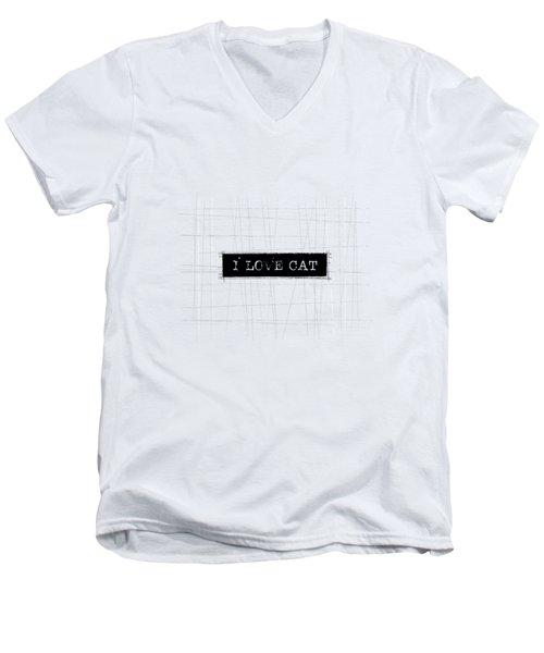 I Love Cat Word Art Men's V-Neck T-Shirt
