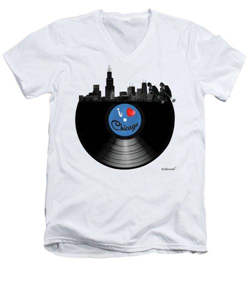 I Love Chicago Men's V-Neck T-Shirt by Glenn Holbrook