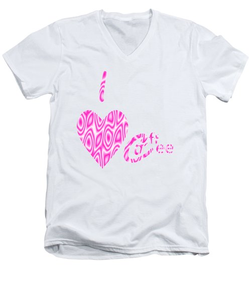 I Love Coffee Men's V-Neck T-Shirt by Kathleen Sartoris