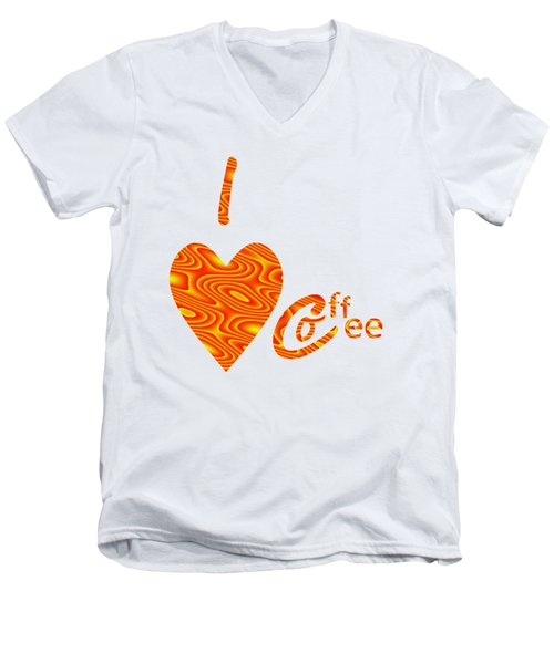 I Love Coffee Peach And Yellow Men's V-Neck T-Shirt by Kathleen Sartoris