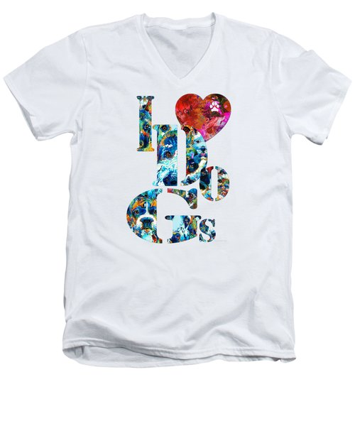 I Love Dogs By Sharon Cummings Men's V-Neck T-Shirt