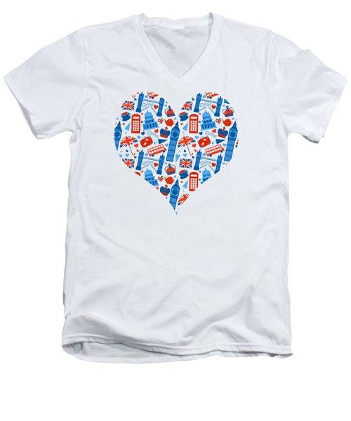 I Love England A Pattern For Anglophiles Men's V-Neck T-Shirt