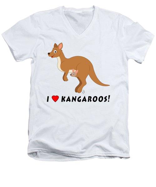 I Love Kangaroos Men's V-Neck T-Shirt by A