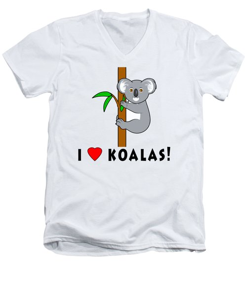 I Love Koalas Men's V-Neck T-Shirt by A
