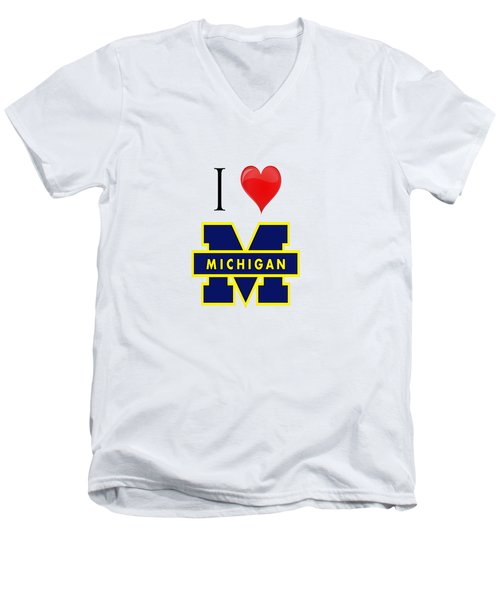 I Love Michigan Men's V-Neck T-Shirt