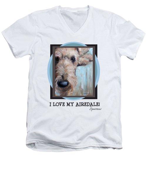 I Love My Airedale Men's V-Neck T-Shirt