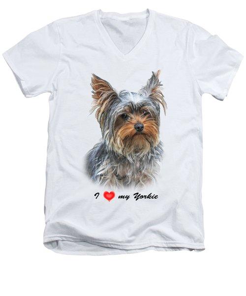 Men's V-Neck T-Shirt featuring the photograph I Love My Yorkie 01 by Jivko Nakev