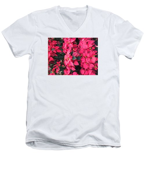 Men's V-Neck T-Shirt featuring the photograph I Love Poinsettias by Kay Gilley